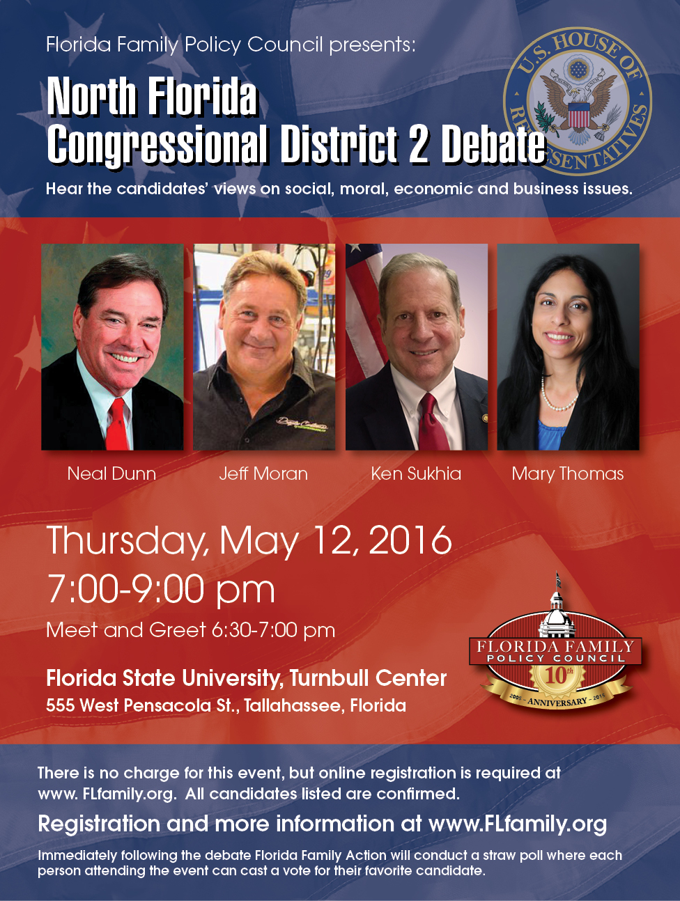 Panelists and Moderator Announced for North Florida GOP Congressional Debate